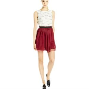 Speechless Junior 7 dress burgundy and ivory lace